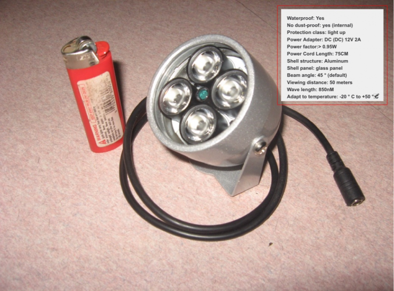 12vdc 2A 850nm ir illuminator. $40.00 inc.